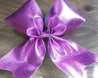 glitter metallic purple cheer bow made with vinyl on 3 inch wide grosgrain ribbon and ponytail holder