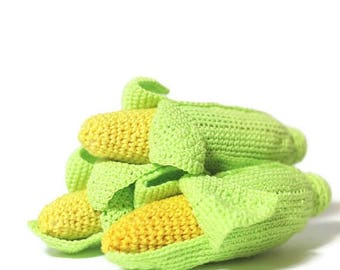 ON SALE Crochet Corn Cob Crochet vegetables Montessori toys Play Food Kids Toy Play Kitchen food Kitchen decor Toys for toddlers Eco friendl