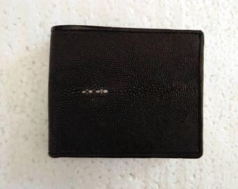 Genuine Black Stingray Leather Men's Bifold Wallet