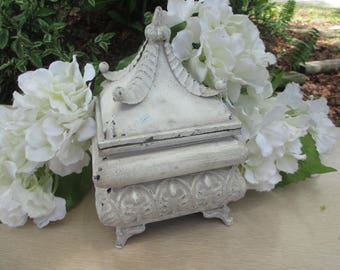 Shabby Chic White Decorative Box with Lid, Distressed Metal Box