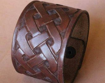 Dark Brown colored, Carved, Leather, Celtic Knot, Cuff, Wristband, Bracelet