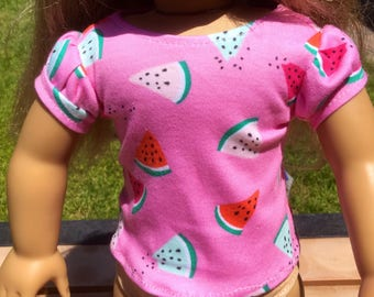 Knit t-shirt for 18 inch dolls, t-shirt fits 18 inch dolls like American girl dolls, 18 inch doll shirt, doll clothes, doll shirt