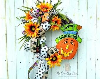 Halloween Wreath, Pumpkin Halloween Wreath, Trick or Treating Wreath, Pumpkin Wreath, Jack o lantern Wreath
