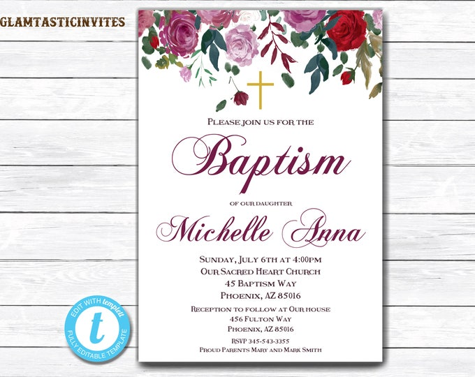 Floral Baptism Invitation Girl, Baptism Invitation Printable, Girl Baptism Invitation, Printable Baptism Invite, YOU EDIT, Baptism Template