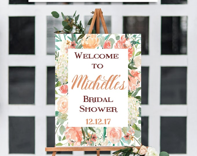 BRIDAL SHOWER Sign, Flower Bridal Shower Sign, Floral Sign, Rustic Bridal Shower, Rustic Decor, Bridal Shower, You Edit, Template, Instant