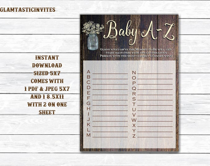 Baby A-Z Game, Rustic Baby Shower Game, Instant Download, Baby Shower Game, Baby Shower Activity, Rustic Shower Games, DIY, Printable, Game