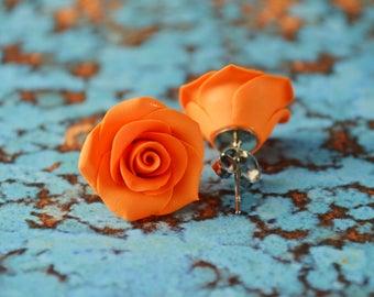 Orange Roses. Polymer Clay Rose Earrings. Rose Earrings. Rose Studs. Flower Earrings. Gift for Her. Handmade Jewelry