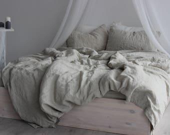 100% Linen Duvet Cover Eco Organic Bedding, Twin Full Queen King California size Duvet Comforter Cover Natural Colors Flax Organic Linen