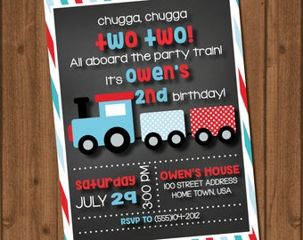 Train birthday invite file || Red || Blue || Chugga Chugga Two Two || Choo Choo || Stripes || White || Chalk || Polka Dots || Boy Train
