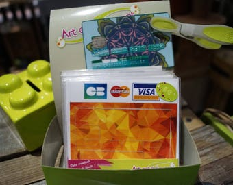 Orange cubic credit card stickers