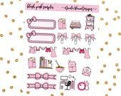 Blush Pink Sampler, Bow Planner Stickers
