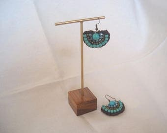 5 pcs. #GOLD COLOR Earrings Display on teak wood base #Jewelry displays #Gold earring display #Gold jewelry displays.