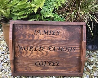 Personalised wooden tray - rustic tray, serving tray , wooden tea tray, tea tray, breakfast- rustic sign- home decor- wall art- wooden sign-