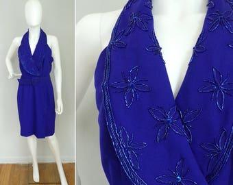 Vintage 80s AJ Bari purple flower beaded party dress size medium/10, evening dress, purple dress, party dress, beaded dress, fancy dress