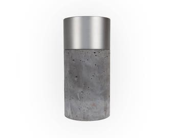 Dark Concrete Vase with Brushed Aluminum and Removable Glas