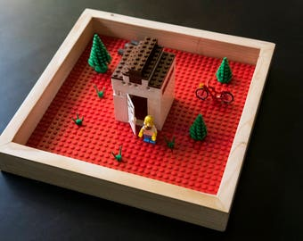 10x10 Wood Lego Tray - Red
