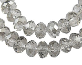 """Gray/Silver 8x6mm Faceted Rondelle Electroplated Glass Crystal Beads (17"""" Strand)"""