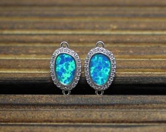 Wholesale New Pendant,Synthetic Blue Opal Crystal CZ Slice Pendant,Silver Plated Edged Double Loops Charms Jewelry,10x16mm