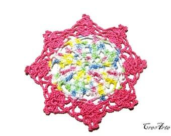 Hot Pink and Pastel Colors crochet coaster, sottobicchiere fucsia e colori pastello all'uncinetto