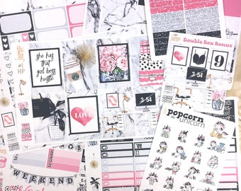 Girl Boss working office set / kit weekly stickers - classic HAPPY PLANNER - marble pink black glam