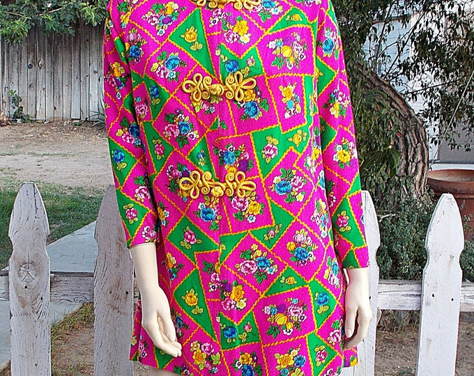 "Vintage 70s ""Lilli"" Asian Cheongsam Go-Go Mod Green Pink Floral Handmade Womens Long Sleeve Tunic Top Full Length Maxi Skirt Dress Outfit"