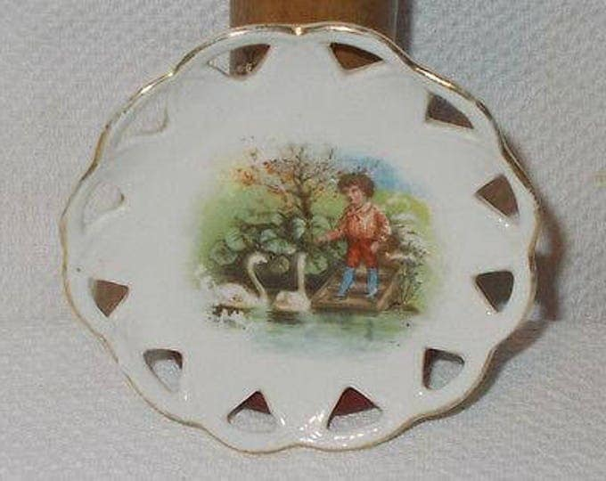 Antique Vintage Collectible 30s German Boy Feeding Bird Geese Swans White China Porcelain Childrens Scalloped Edge Play Toy Plate