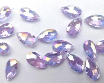 10 Iridescent Lilac 16mm Teardrop Pear Crystal Pendants Charms - 71j