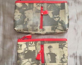 Vintage New Wave punk makeup bags pair Debbie Harry Blondie Boy George