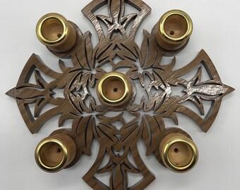 Leaf Cross Advent Wreath - Walnut