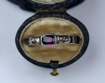 Antique Early Georgian Garnet & Diamond Black Enamel Mourning Ring