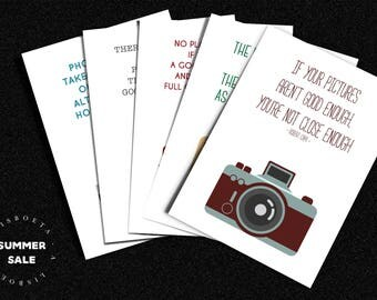 SUMMER SALE Photography Cameras postcards set, print, gift, home wall decor, vintage, photographers quotes