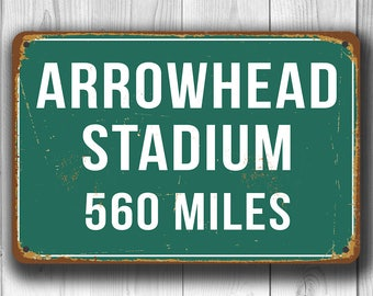 PERSONALIZED ARROWHEAD STADIUM Distance Sign, Arrowhead Stadium Sign, Arrowhead Stadium Miles, Personalized Chiefs Gift, Kansas City Chiefs
