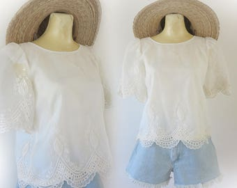 Vintage 80's Sheer White Embroidered Polyester Boho Hippie Top Size Small