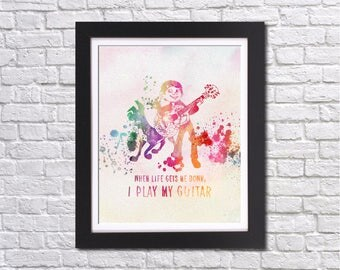 """When life gets down,I play my guitar Disney COCO watercolor Murals ,8""""x10""""  JPEG & PDF file , Inspirational Quote,Wall Art Prints"""