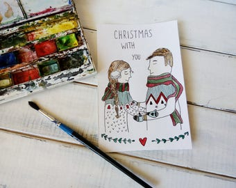 Black friday Christmas Gifts 2018 Original Watercolor Card Handmade Watercolor Painting Christmas Wife Gift Personalized Card Gift-For-Her