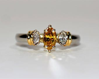 40% OFF SALE with free resizing!! Vivid GIA Certified .55tcw Yellow Diamond Platinum & 18k Yellow Gold Accent Ring