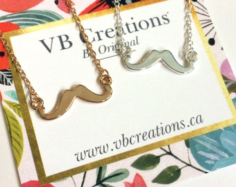 Mustache Necklace - Mustache Jewelry - Silver Mustache - Gold Mustache - Movember - Dainty Jewelry - Solidarity - Gift Ideas - Friend Gift