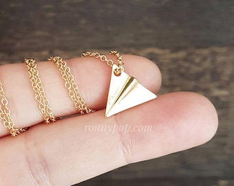 Paper Airplane Necklace - Plane Necklace - Plane Jewelry - Airplane - Plane Pilot - Flight Attendant - Traveler - Gift Ideas - Gift for her