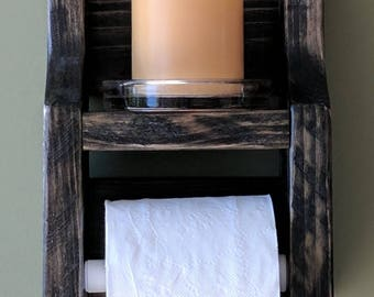 Rustic Toilet Paper Holder with Shelf made from Reclaimed and Repurposed Pallet Wood