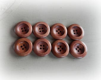 8 wooden buttons round 25 mm coffee color