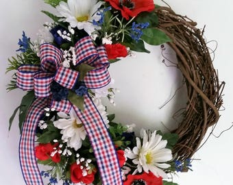 Small Grapevine Front Door  Wreath, Patriotic Grapevine Wreath, 4th of July Wreath, Small Grapevine Wreath, Small Grapevine Summer Wreath