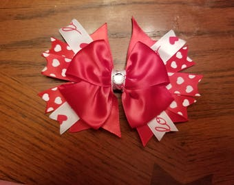 Valentine's Day girl boutique stacked hairbow