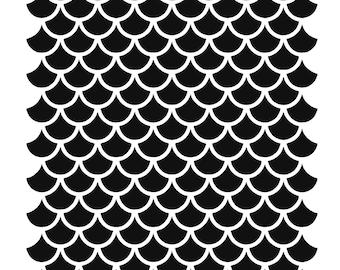 geometric Fish scales mirmaid Reusable Plastic stencil