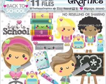 Back to School Clipart, 80%OFF, Back to School Graphics, COMMERCIAL USE, Kawaii Clipart, School Party, Planner Accessories, School, Kawaii