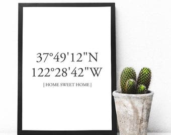 Custom Coordinates Print - Latitude Longitude Print - Housewarming Gift - Wedding Couple Gift - First House Print - Wall Decor - Wall Prints