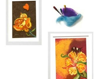 ON SALEcij 20% off  Floral Tapestries, Needle Felted Art.