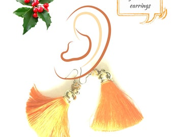 Tangerine Tassel Earrings,Tassel and Bead Earrings,Tassel Earrings, Stylish Earrings, Trendsetter Gift, Girlfriend Gift, Free Local Shipping