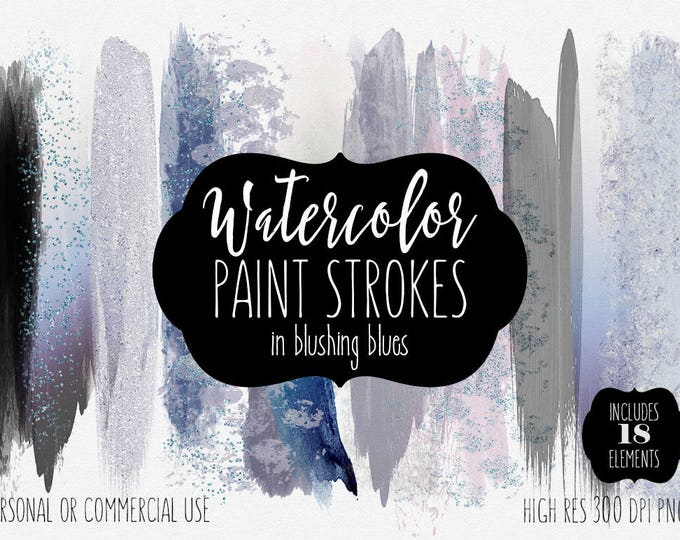 WATERCOLOR BRUSH STROKES Clipart Commercial Use Clip Art 18 Watercolor Brush Paint Stroke Blush Indigo Blue Confetti Watercolor Logo Texture