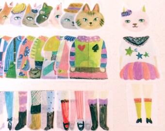 Dress up cat washitape set // party fashion
