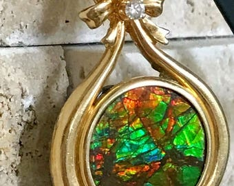 14k Gold Canadian Ammolite Diamond Pendant Gemstone